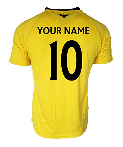 Club America Soccer Jersey Mexico FMF Adult Training Custom Name and Number (Yellow T1A11, L)