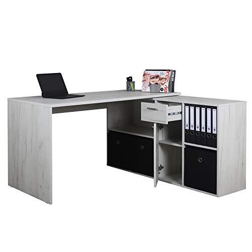RICOO WM081-EP Schreibtisch Holz Eiche Hell Winkelkombination Arbeitstisch Bürotisch Computertisch Eckschreibtisch Akten Schrank Lowboard