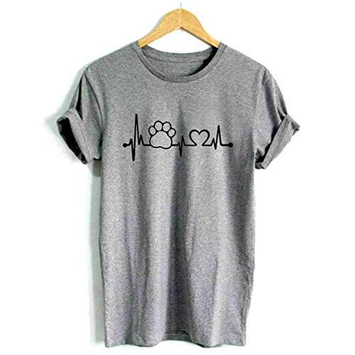 YANGPP Heartbeat Lifeline Chien Chat Pied Femmes Chemise Casual drôle t-Shirt pour Unisexe Lady Girl Top Tees, Gris, XL