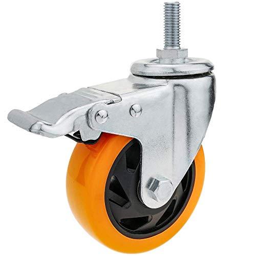 PrimeMatik - Rueda pivotante industrial de poliuretano con freno 100 mm M12