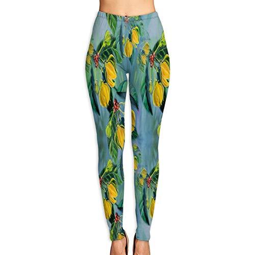 Benle Pantalones de Yoga para Mujer,Ylangylang Acuarela Pintura Medicinal Perfumería Cosmética,Pantalones de Entrenamiento de Cintura Alta Medias elásticas de Yoga Impresas S