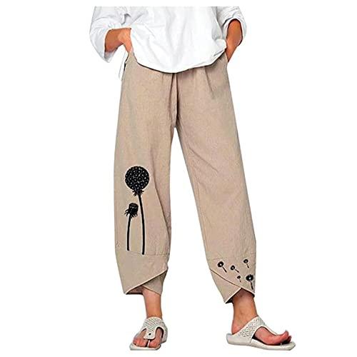 N\P Las mujeres ocasionales de flores imprimen cintura elástica cintura pantalones de pierna ancha pantalones