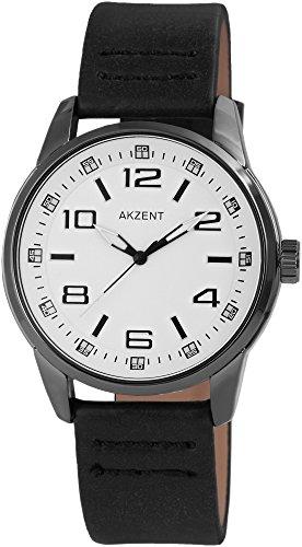 Akzent Herren analog Armbanduhr mit Quarzwerk SS7572000016 Metallgehäuse mit Kunstleder Armband in Schwarz und Dornschließe Ziffernblattfarbe Weiß Bandgesamtlänge 25 cm Armbandbreite 22 mm