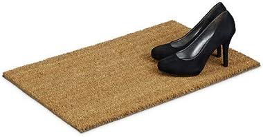 Relaxdays 10014666 Paillasson fibres de coco intérieur extérieur design neutre tapis d'entrée saleté et la boue chaussure