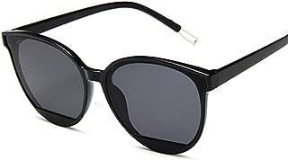 QWKLNRA - Gafas De Sol para Hombre Marco Negro Lente Negra Retro Espejo Gafas De Sol Mujer Hombre Lujo Vintage Ojo De Gato Gafas De Sol Negras contra-UV Uv400 Ciclismo Viajes Pesca Gafas De Sol Al Air