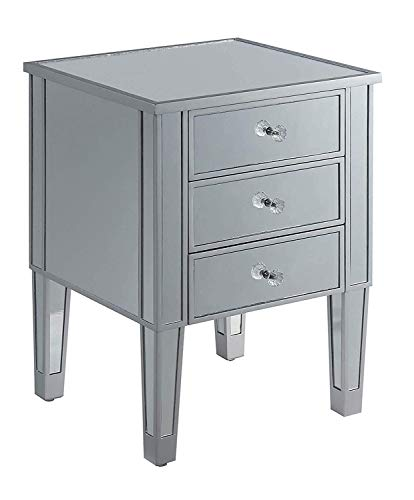 Convenience Concepts Gold Coast 3 Drawer Mirrored End Table, Mirror / Silver Minnesota