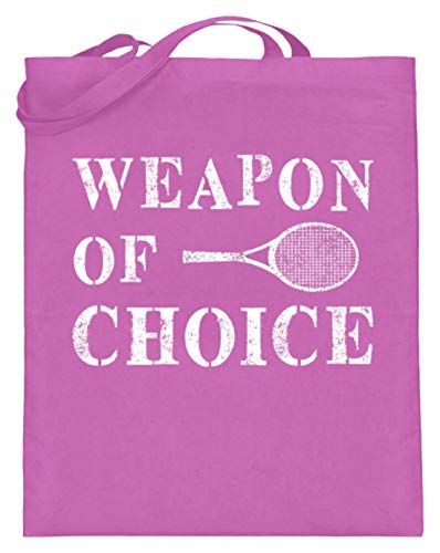 Schuhboutique Doris Finke UG (haftungsbeschränkt) Waffe der Wahl Tennis Tennisschläger - Jutebeutel (mit langen Henkeln) -38cm-42cm-Pink