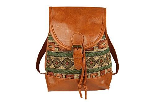 Sunny Times - Rucksack Damen Klein, Cityrucksack Daypack für Frauen und Mädchen zum Wandern, für Ausflüge, Ethno Indianer Festival Rucksack, (Grün)