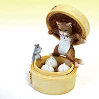 茶トラ猫 ねこ ネコ レトロ アンティーク風 セイロ 肉まん 猫とネズミ 置物 オブジェ プレゼント ギフト かわいい ミニチュア EV14775A 高さ約7.5cm