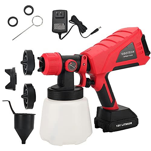 VISOTECH 18V Battery Powered Paint Sprayer, Cordless Spray Gun W/ 2.6AH Battery, HVLP Sprayer, 1000ML Detachable Container, 3 Adjustable Nozzle Modes for Painting (One Battery Included)