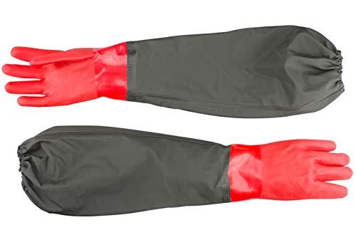 Haiou Teichhandschuhe Lang-Wasserdichte Handschuhe-Fischerhandschuhe Sandstrahlen-Teichpflege Handschuhe-Arbeitshandschuhe Wasserdicht Beständig Säuren und Laugen, Rot, Nur Eine Größe