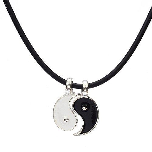 skyllc® Colgante bañado de Plata Yin Yang Negro y Blanco 10mm
