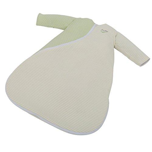 PurFlo PS25JERMOSSPR60 Baby Schlafsack, 2.5Tog, 0-3Monate, flecken/linien, moosgrün/weiße