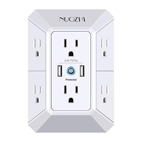 USB Wall Charger, Surge Protector, 6 Outlet Extender with 2 USB Ports,3-Sided 2100J Power Strip Multi Plug Outlets Wall Adapter Spaced for Home Travel Office (2 USB)