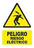 Señal PELIGRO RIESGO ELECTRICO - PVC 0,7mm - 21 x 30cm – cartel señal peligro.