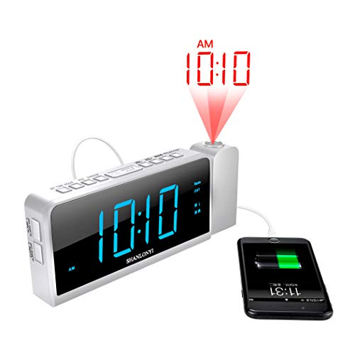 """Projection Alarm Clock with AM/FM Radio, 180°Projector, 7"""" LED Digital Ceiling Display, Easy to Use, Clear Blue Digit, 3 Dimmer, Digital Alarm Clock with USB Phone Charger, Battery Backup for Bedroom"""