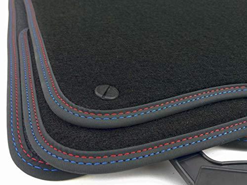 Fußmatten E46 M-Edition Doppelnaht Rot Blau Velours Tuning Premium Autoteppich M3 4-teiliges