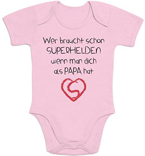 Shirtgeil Wer Braucht SUPERHELDEN Wenn Man Dich Als Papa Hat Baby Body Kurzarm-Body 0-3 Monate Rosa
