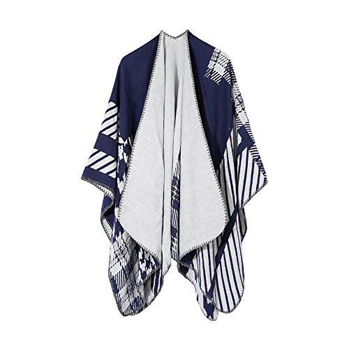 Damen Poncho Schal Wrap Open Front Bedruckte Decke Cardigans Reversible Oversized Warm Cashmere Strickschals Mit Pelzbesatz In Voller Länge