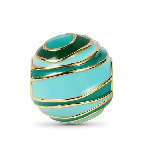GNOCE Cosmic Planet Charm Bead Plata de ley 18K Chapado en oro Cuentas colgantes Charm Fit Pulsera Collar Joyería de moda Regalo para mujeres Mamá Niñas (Urano)