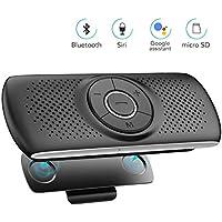 AGPTEK Manos Libres para Coche Bluetooth 4.2 con Siri, Google Asistente, Kit de Coche Altavoz Inalámbrico con Ranura de Tarjeta TF, Soporta Conexión de 2 Teléfonos Simultáneamente, Negro