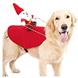 AOFITEE Christmas Dog Costume Santa Riding on Dog Holiday Outfit, Funny Party Dressing Up for Small Medium Large Dogs Cats, Cute Santa Pet Costume, XL
