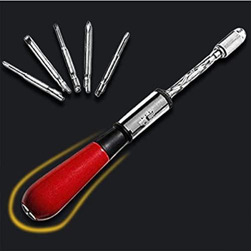 Destornillador de trinquete 5 en 1, destornillador semiautomático tipo empuje, destornillador de mango de madera, con 5 puntas de destornillador reemplazables