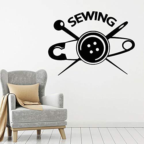 JXMK naaien muurtattoos designer kledingwinkel snijder atelier button Home Decoration accessoires vinyl winkel venster sticker muursticker 113x84cm
