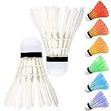 Komake 8 Pezzi Volani Badminton, LED Volano da Badminton Incandescente Cambio 7 Colore Automatico Palle da Badminton con Piuma Naturale per Giocare a Badminton Durante la Notte