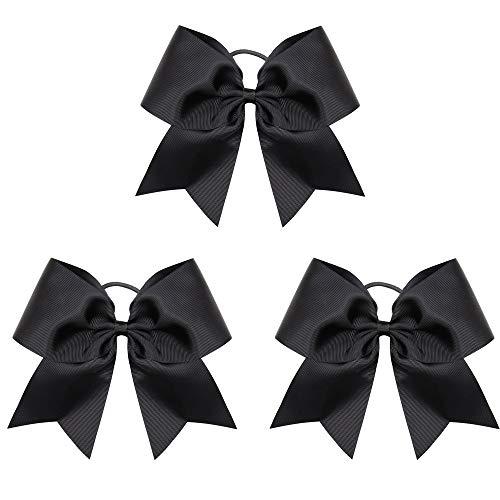 "Oaoleer Boutique Teens Women 8"" Jumbo Large Back Cheer Bow Ponytail Holder Elastic Band Handmade for Cheerleading Teen Girls College Sports (Back 3pcs)"