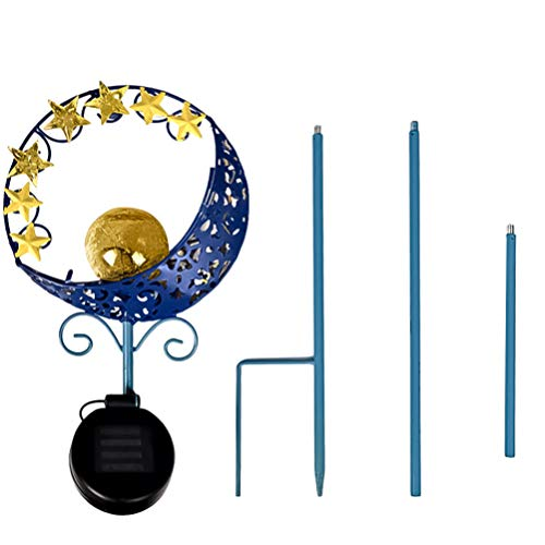 UPKOCH Solar Garten Licht Pfahl Mond Stern Einsatz Lampe wasserdichte Solarbetriebene Lichter Atmosphäre Lampe für Outdoor-Boden Rasen Terrasse Hinterhof Dekoration