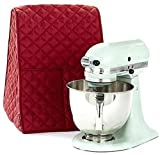 Large Size Stand Mixer Cover, Quilted Dustproof 4.5-6 Quart Kitchen Aid Organizer Bag, Mixer Covers Fits All Tilt Head & Bowl Lift Models for Kitchen Aid, Sunbeam, Cuisinart, Hamilton Beach Mixers Red