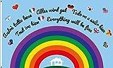Flaggenfritze® Flagge/Fahne Regenbogen Alles Wird gut - 90 x 150 cm
