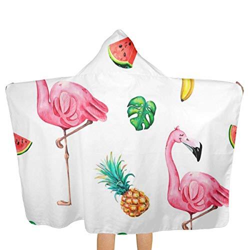 Hdadwy Toalla de baño para niños, toalla de baño con capucha de flamenco rosa acuarela pintada a mano, toalla de playa con capucha, toalla de playa con capucha, secado rápido