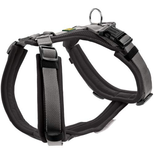 HUNTER Maldon Hundegeschirr,Y-Form, weich gepolstert, ideal für sportliche Aktivitäten Farbe schwarz/grau, Größe M-L