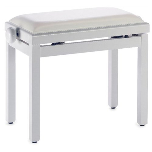 Stagg PB39 WHP SWH Klavierbank in Weiß mit weißem Ledersitz