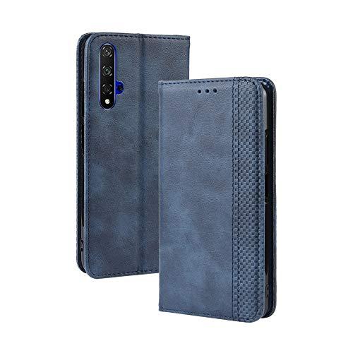 LAGUI Kompatible für Huawei nova 5T Hülle, Leder Flip Hülle Schutzhülle für Handy mit Kartenfach Stand & Magnet Funktion als Brieftasche, Blau