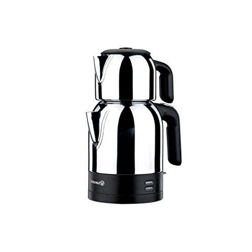 Korkmaz Demkolik Electrical Tea Pot Set/Caymatik / A359 Teekocher, Edelstahl, schwarz, 10 x 9,5 x 8,5 cm, 4-Einheiten