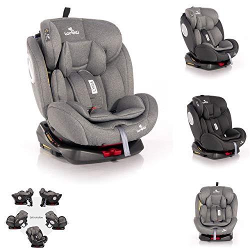 Lorelli asiento infantil Lyra Isofix grupo 0+/1/2/3 (0-36kg) Cinturón 5 puntos, color:gris