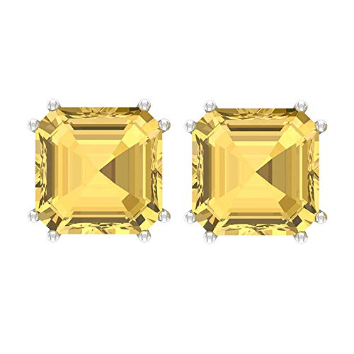 12.75 CT Citrine Solitaire Earrings, 10 MM Asscher Cut Stud Earrings, November Birthstone Earrings, Gold Minimal Earrings (AAA Quality), 10K White Gold, Pair