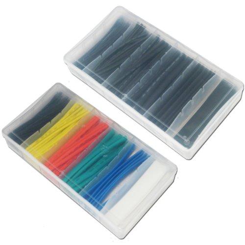 Assortiment de gaines thermorétractables - Lot de 200 - 2 boites de 100 (noir et couleur)