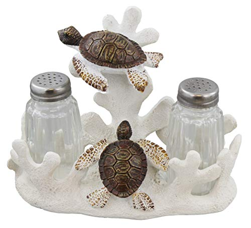 Sea Turtles Salt & Pepper Set - Ocean Beach Nautical Sea Shell Decor