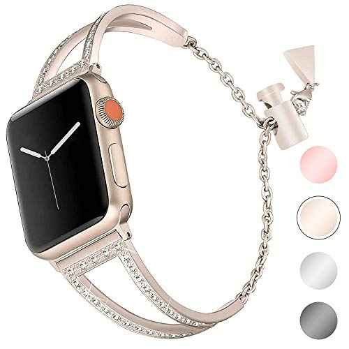 Aottom Kompatibel für Apple Watch Armband 38 mm Damen Gold Glitzer,Armband Apple Watch Series 3 Edelstahl Uhrenarmband iWatch 38 Ersatzband Smartwatch Sportband für Apple Watch 38mm Series 3/2 / 1