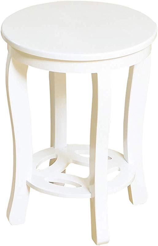 OUG Simple Solid Wood Paint Household Stool Dining Table Stool Creative White Round Modern And Generous