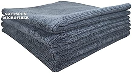 SOFTSPUN Microfiber Car Cleaning, Detailing & Polishing Cloth 340 GSM, 40x40cm, Grey, Pack of 4