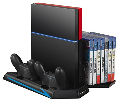 GAMINGER PS4 / Slim / Pro Ladestation mit Lüfter USB für Sony PS4 / PS4 SLIM / PS4 PRO Hub CD Disc DVD Blu Ray Hüllen Stand 14x