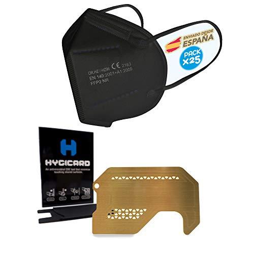 ENERGY FUSION Mascarilla FFP2 negra, Caja de 25u.+ Tarjeta Anticontacto HYGICARD , Homologada Certificado CE , envio desde España
