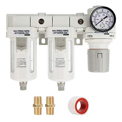 Solimeta Double Air Filters, Air Pressure Regulator Combo 3/8'NPT, Air Compressor Accessories,Air Dryer,Air Compressor