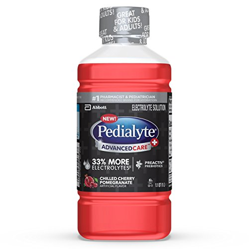 Pedialyte AdvancedCare+ Electrolyte Drink with 33% More Electrolytes and has PreActiv Prebiotics, Chilled Cherry Pomegranate, Ginger, 33.8 Fl Oz
