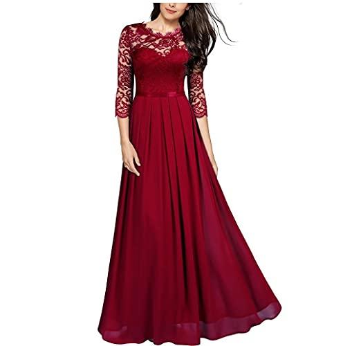TMOYJPX Vestidos de Fiesta Largos de Noche Gasa Costura Encaje, Vestido Mujer Comunion Ropa de Mujer (Rojo, M, m)